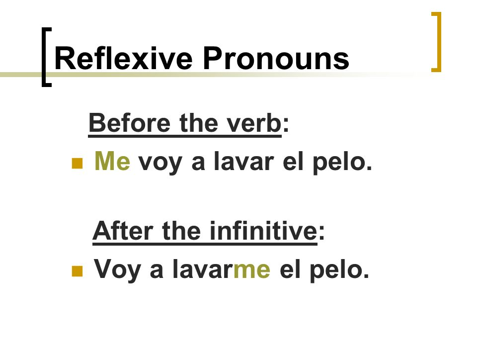 Reflexive Pronouns They can either go before a conjugated verb or after an infinitive.