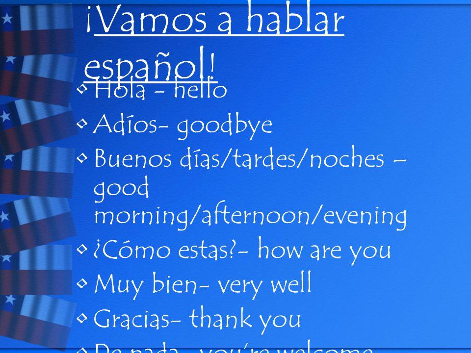 ¡ Vamos a hablar español ! Hola - hello Adíos- goodbye Buenos días/tardes/noches – good morning/afternoon/evening ¿Cómo estas?- how are you Muy bien-
