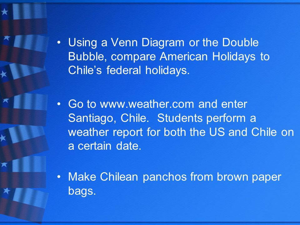 Using a Venn Diagram or the Double Bubble, compare American Holidays to Chiles federal holidays. Go to www.weather.com and enter Santiago, Chile. Stud