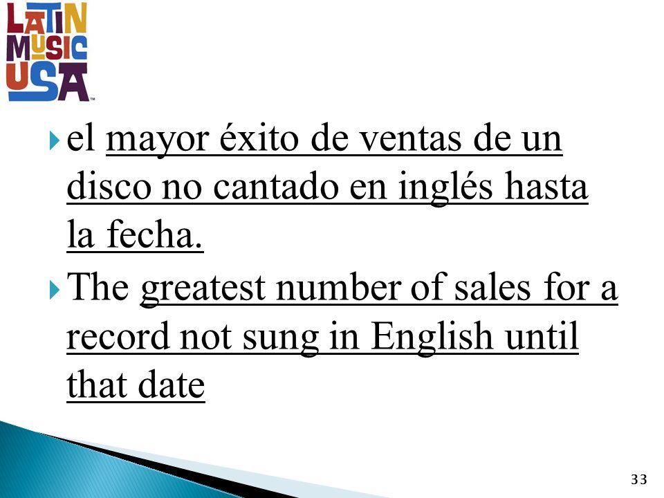 el mayor éxito de ventas de un disco no cantado en inglés hasta la fecha.
