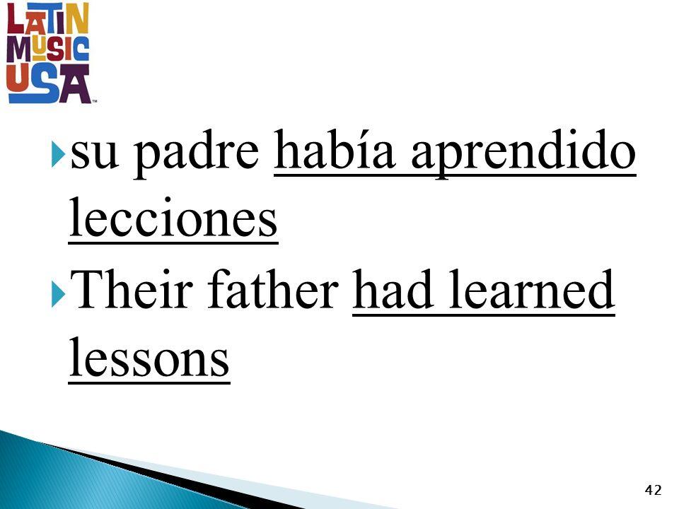 su padre había aprendido lecciones Their father had learned lessons 42