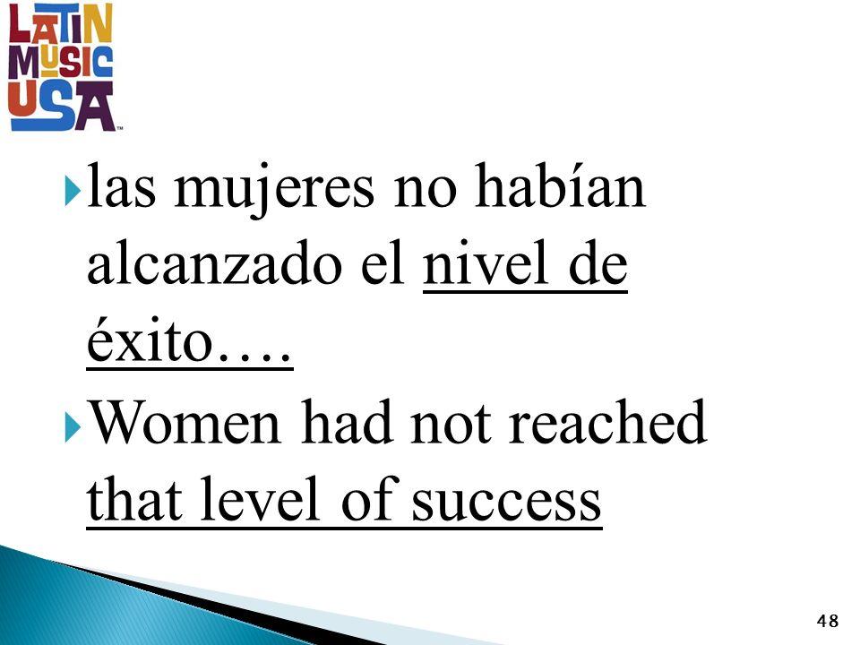 las mujeres no habían alcanzado el nivel de éxito…. Women had not reached that level of success 48
