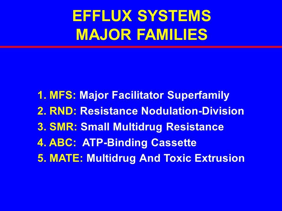 EFFLUX SYSTEMS MAJOR FAMILIES 1. MFS: Major Facilitator Superfamily 2. RND: Resistance Nodulation-Division 3. SMR: Small Multidrug Resistance 4. ABC: