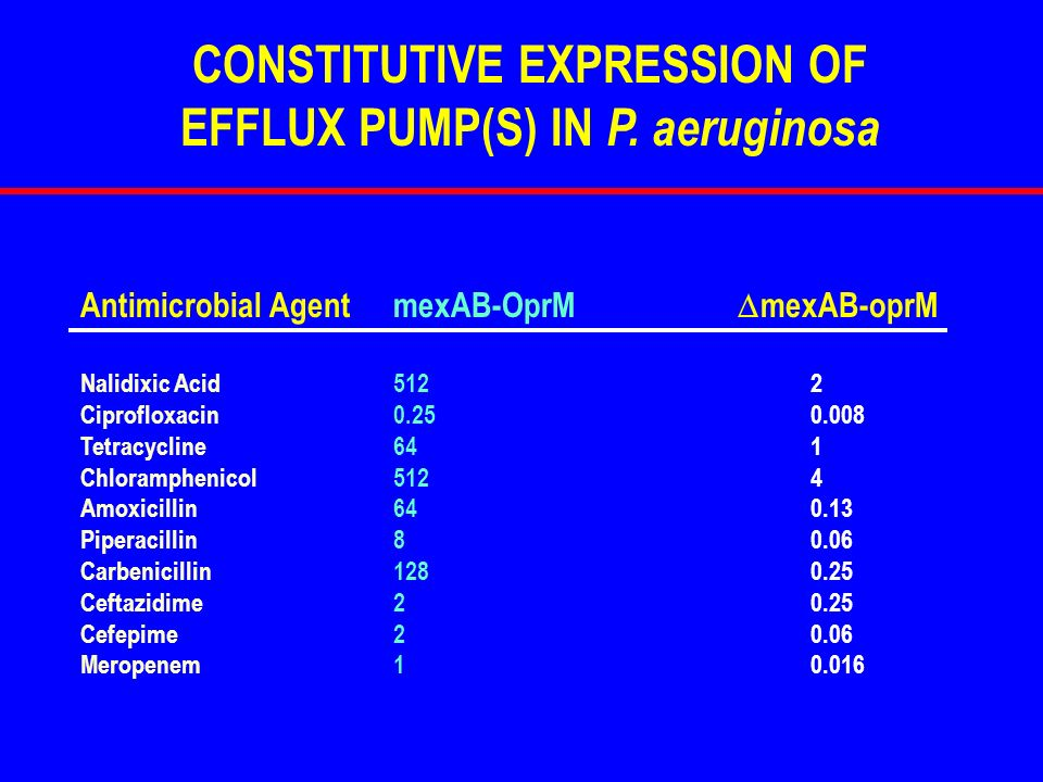 Antimicrobial AgentmexAB-OprM mexAB-oprM Nalidixic Acid5122 Ciprofloxacin0.250.008 Tetracycline641 Chloramphenicol5124 Amoxicillin640.13 Piperacillin8