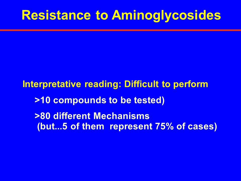 Interpretative reading: Difficult to perform >10 compounds to be tested) >80 different Mechanisms (but...5 of them represent 75% of cases) Resistance
