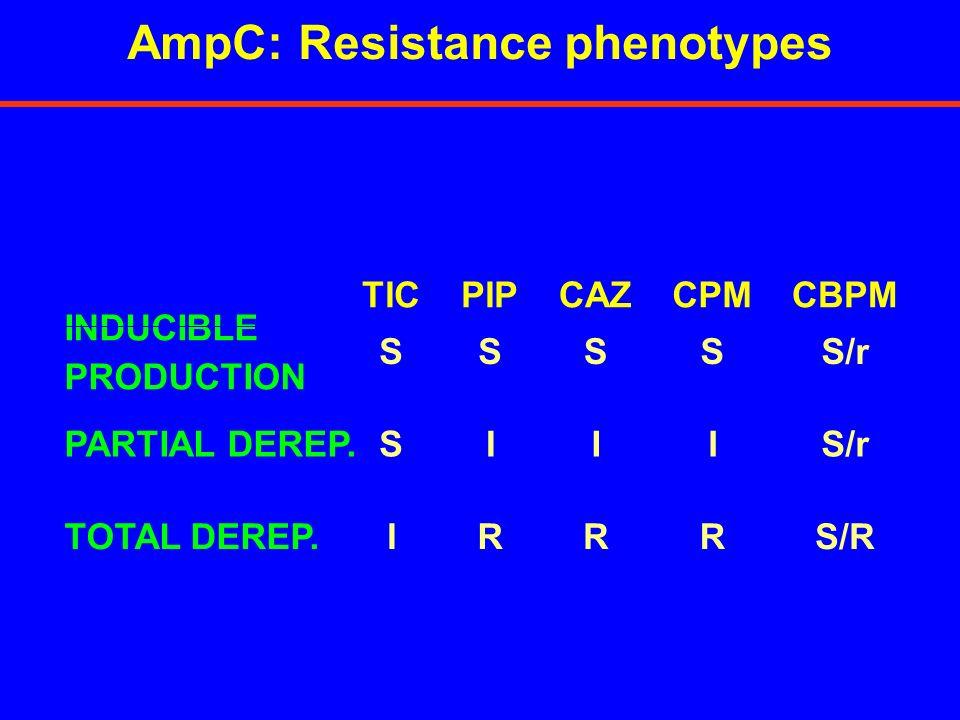 Inducible AmpC Deficiente en AmpC IPM MPM CAZ FEP PIP MPM FEP CAZ IPM