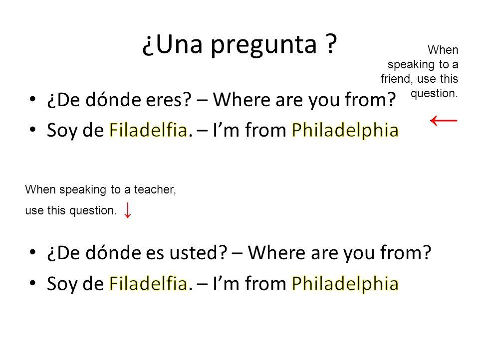 ¿Una pregunta .When speaking to a teacher, use this question.