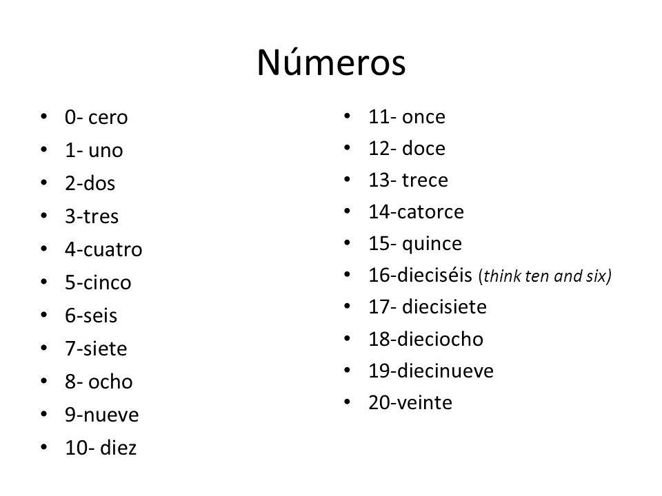 Números 0- cero 1- uno 2-dos 3-tres 4-cuatro 5-cinco 6-seis 7-siete 8- ocho 9-nueve 10- diez 11- once 12- doce 13- trece 14-catorce 15- quince 16-dieciséis (think ten and six) 17- diecisiete 18-dieciocho 19-diecinueve 20-veinte