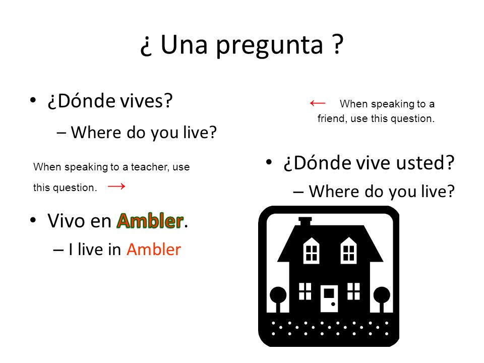 ¿ Una pregunta .When speaking to a friend, use this question.