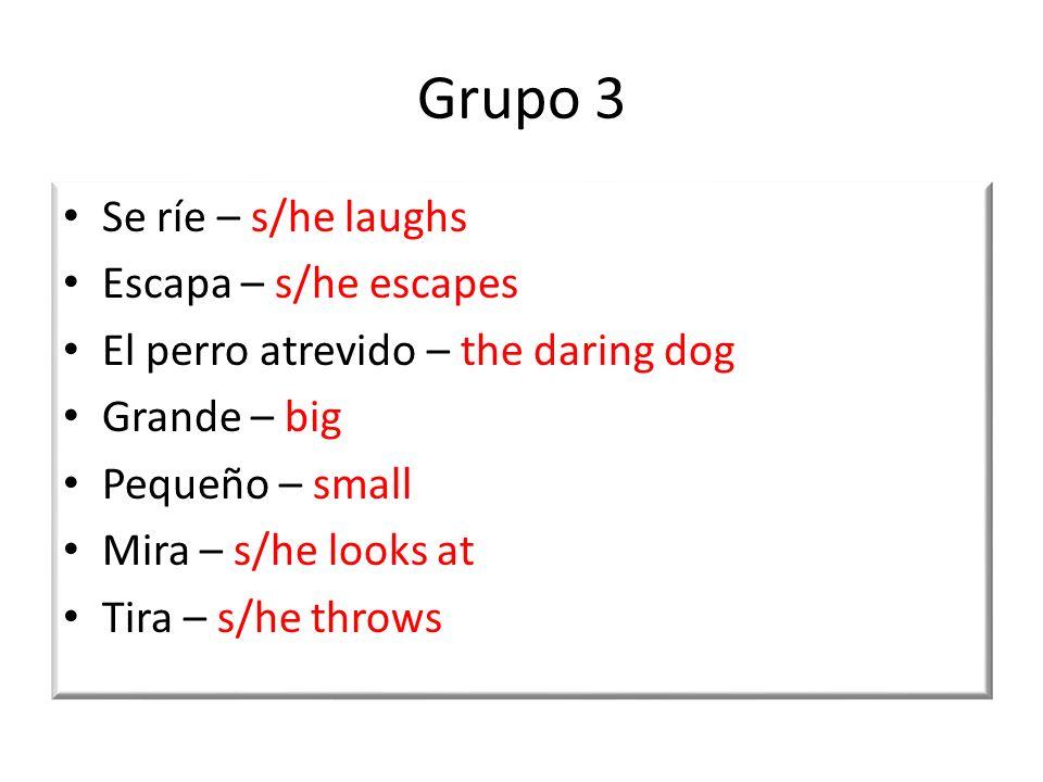 Grupo 3 Se ríe – s/he laughs Escapa – s/he escapes El perro atrevido – the daring dog Grande – big Pequeño – small Mira – s/he looks at Tira – s/he throws
