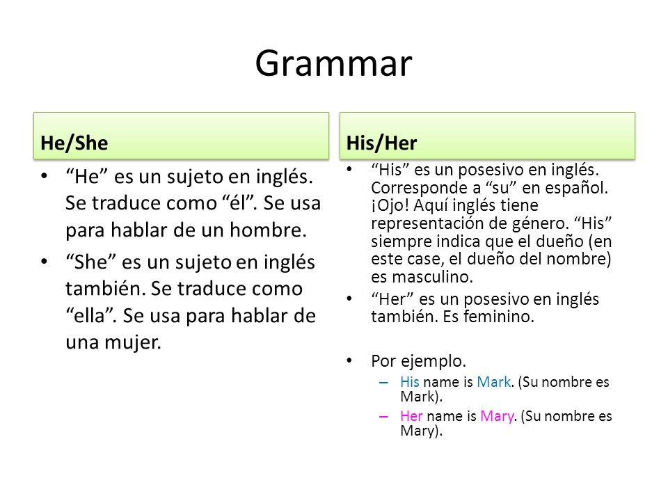 Grammar He/She He es un sujeto en inglés. Se traduce como él.