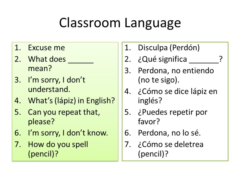 Classroom Language 1.Excuse me 2.What does ______ mean.