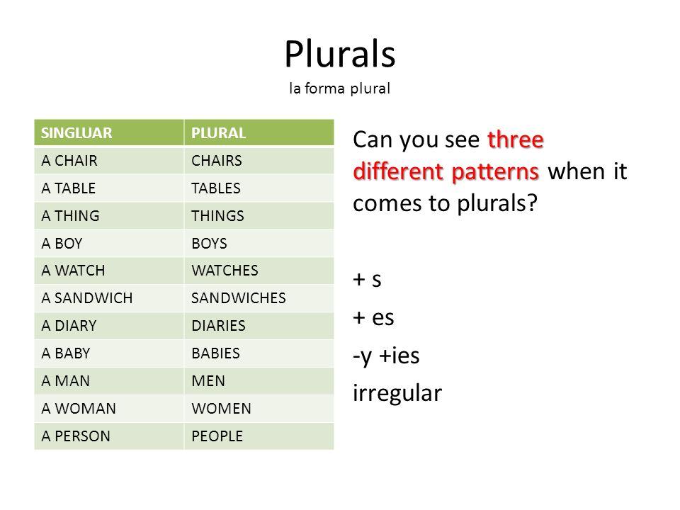 Plurals la forma plural three different patterns Can you see three different patterns when it comes to plurals.