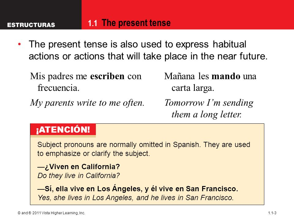 1.1 The present tense © and ® 2011 Vista Higher Learning, Inc.1.1-3 The present tense is also used to express habitual actions or actions that will take place in the near future.