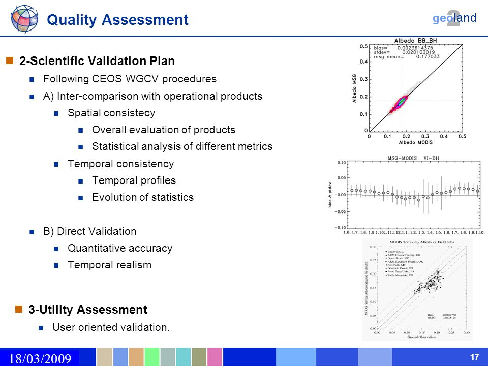 02/03/2009 17 Quality Assessment 18/03/2009 2-Scientific Validation Plan Following CEOS WGCV procedures A) Inter-comparison with operational products
