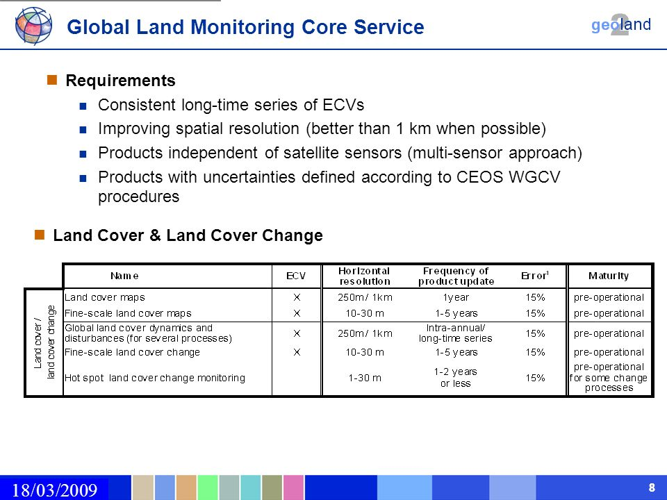 02/03/2009 88 18/03/2009 Requirements Consistent long-time series of ECVs Improving spatial resolution (better than 1 km when possible) Products independent of satellite sensors (multi-sensor approach) Products with uncertainties defined according to CEOS WGCV procedures Land Cover & Land Cover Change Global Land Monitoring Core Service