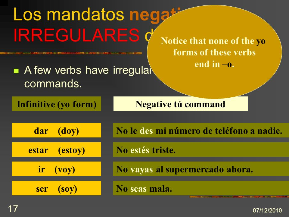 07/12/2010 17 A few verbs have irregular negative tú commands.