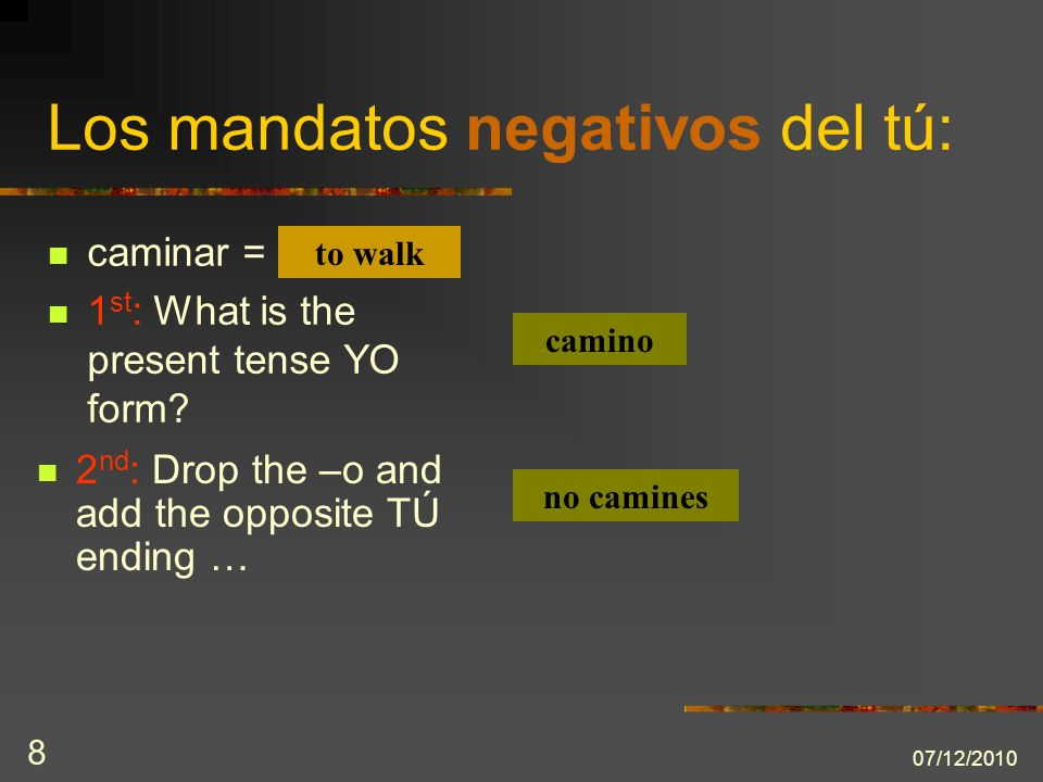 07/12/2010 8 caminar = 1 st : What is the present tense YO form.