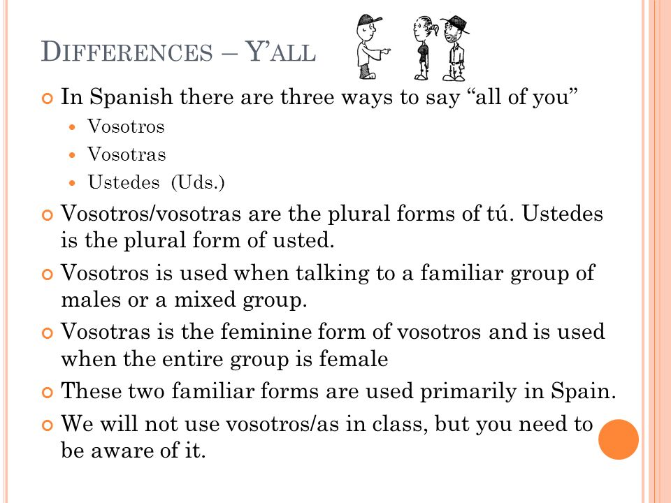 In Spanish there are three ways to say all of you Vosotros Vosotras Ustedes (Uds.) Vosotros/vosotras are the plural forms of tú. Ustedes is the plural