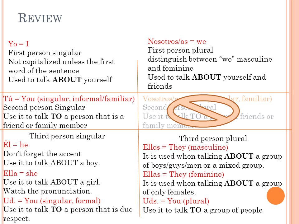 R EVIEW Yo = I First person singular Not capitalized unless the first word of the sentence Used to talk ABOUT yourself Nosotros/as = we First person p