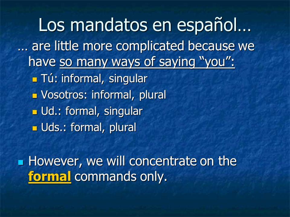 Los mandatos formales (ud.// uds.) Examples: Examples: Hable despacio, por favor.