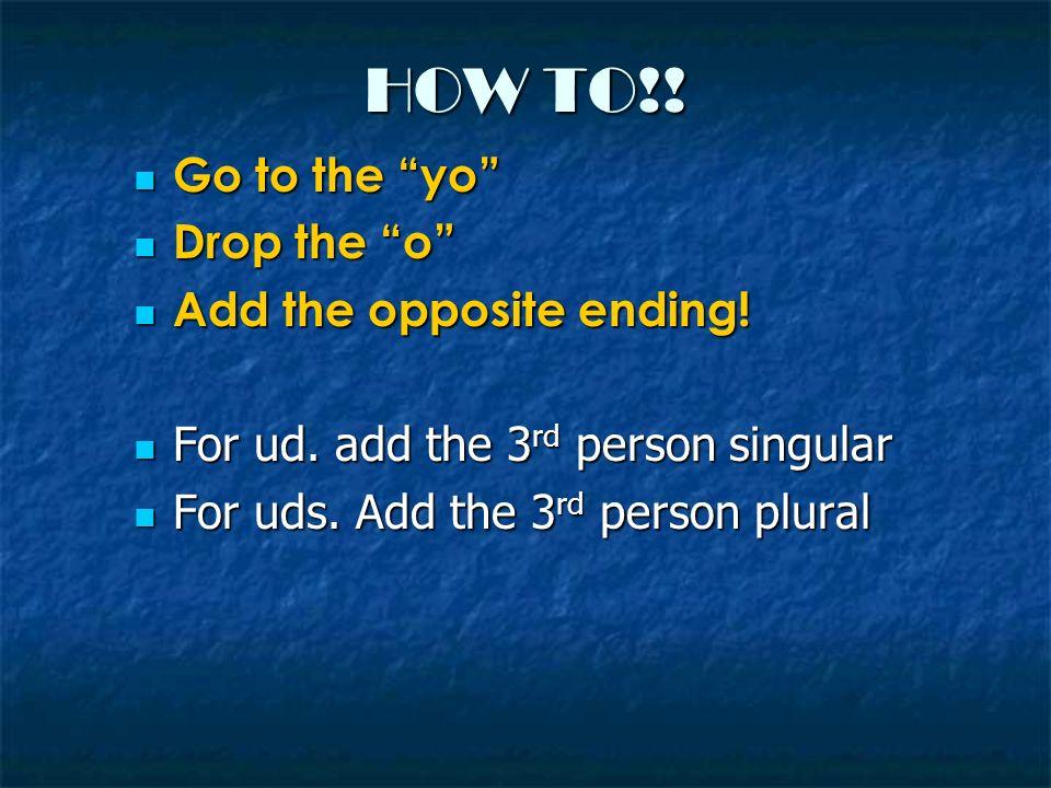 VERBOS -AR verbs -AR verbs Go to the yo Go to the yo Drop the o Drop the o Add the –e or –en Add the –e or –en Hablo Hablo Habl Habl Hable // Hablen Hable // Hablen(Speak!) -ER / -IR verbs -ER / -IR verbs Go to the yo Go to the yo Drop the o Drop the o Add the –a or –an Add the –a or –an Como Como Com Com Coma // Coman Coma // Coman(Eat!)