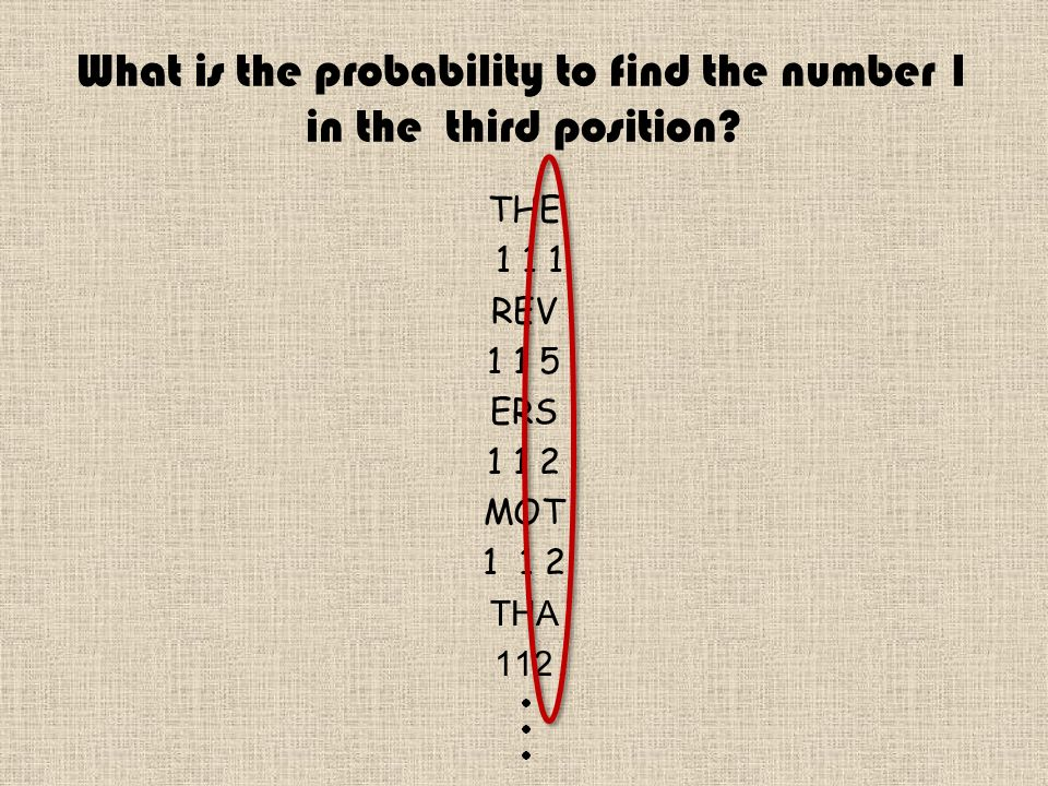 What is the probability to find the number 1 in the third position.