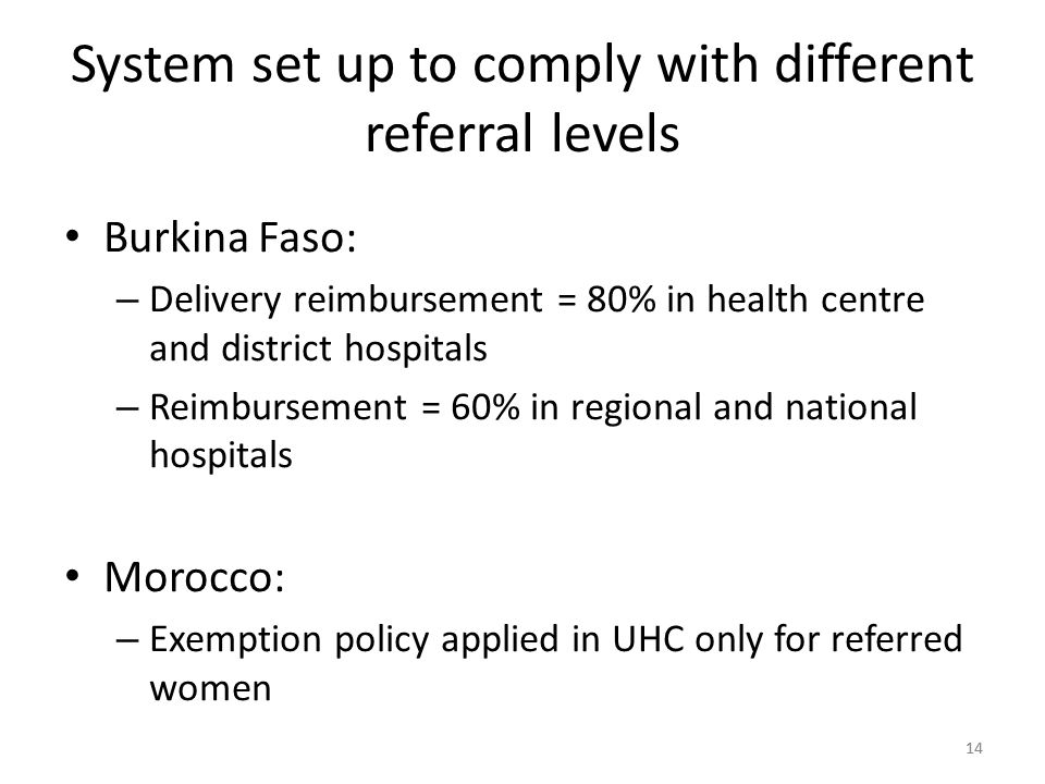 14 System set up to comply with different referral levels Burkina Faso: – Delivery reimbursement = 80% in health centre and district hospitals – Reimbursement = 60% in regional and national hospitals Morocco: – Exemption policy applied in UHC only for referred women