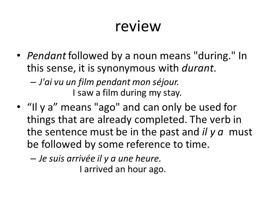 review Pendant followed by a noun means