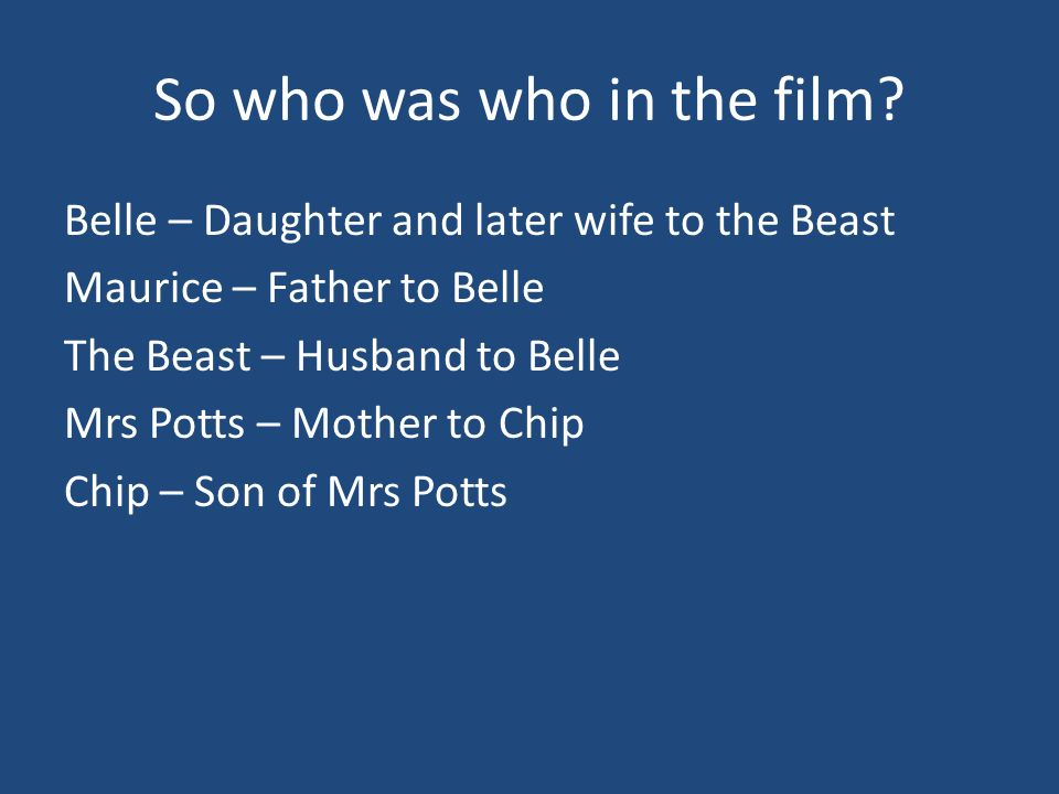 So who was who in the film.