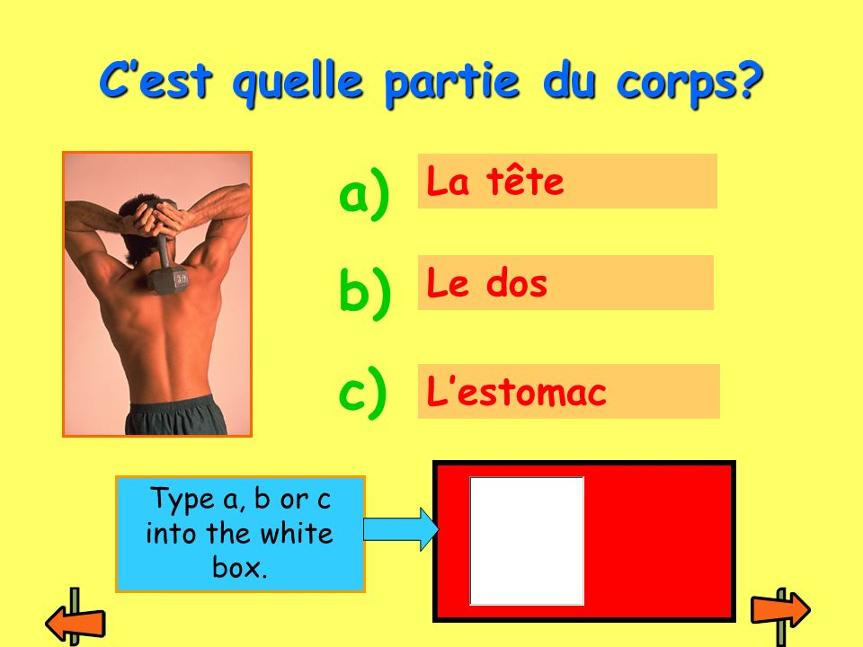 La jambe Le pied Le dos Cest quelle partie du corps? a) b) c) Type a, b or c into the white box.