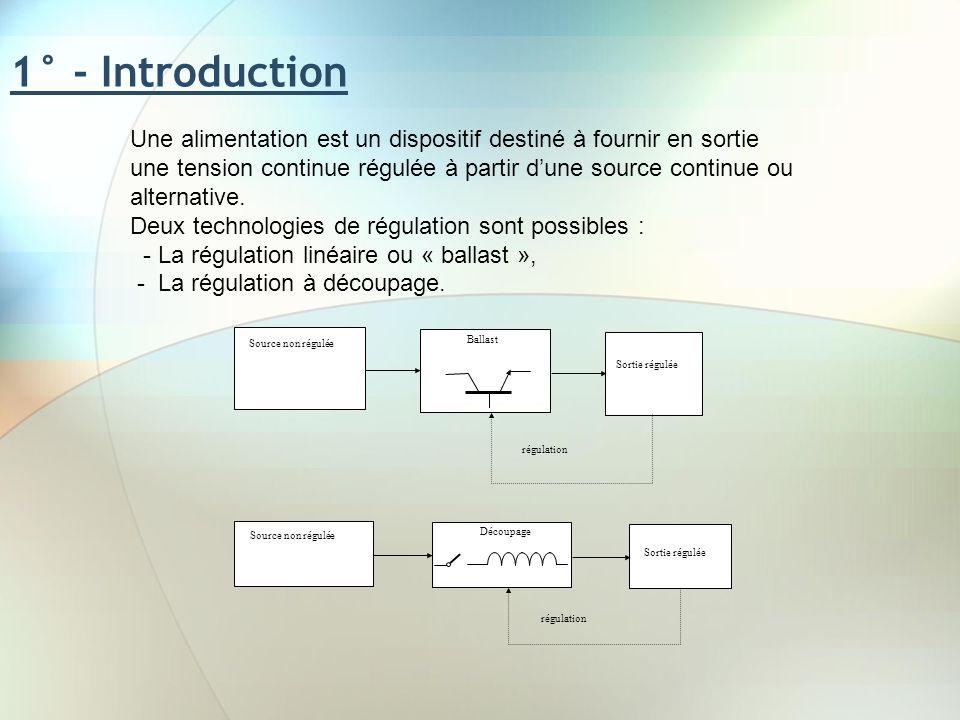 1° - Introduction Une alimentation est un dispositif destiné à fournir en sortie une tension continue régulée à partir dune source continue ou alterna