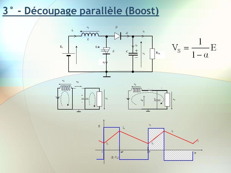 3° - Découpage parallèle (Boost) vLvL i1i1 L E1E1 iCiC vSvS f, iDiD D iSiS K iKiK C R Ch vSvS vLvL + - vDvD vSvS vLvL - + vKvK t vLvL T T 0 2T E (E -V