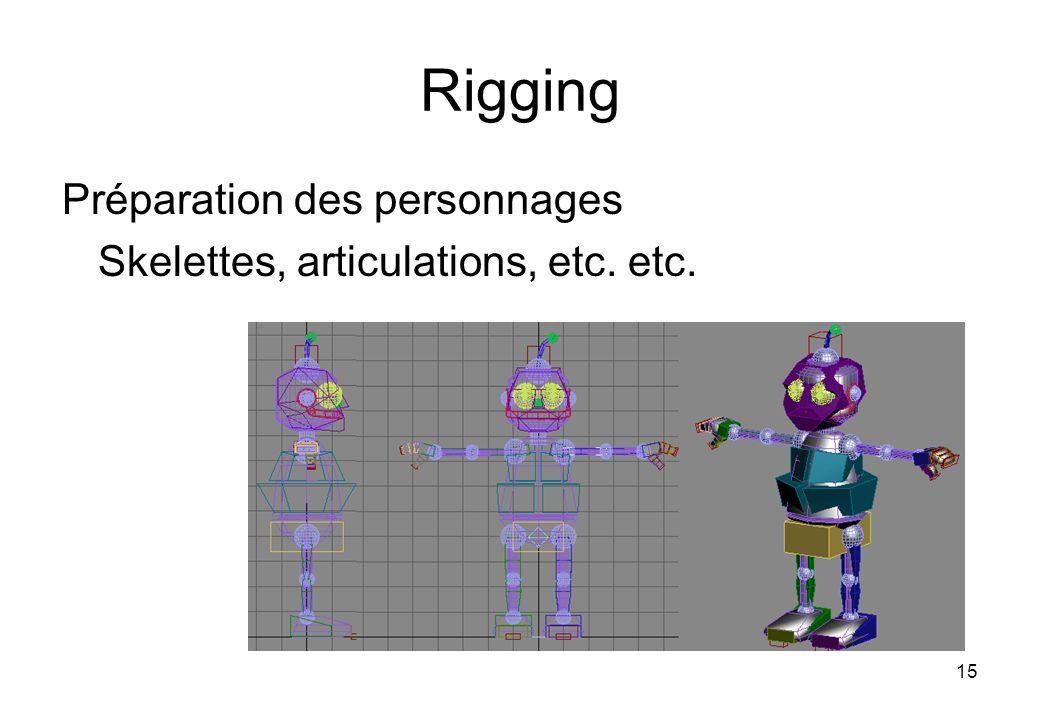 15 Rigging Préparation des personnages Skelettes, articulations, etc. etc.