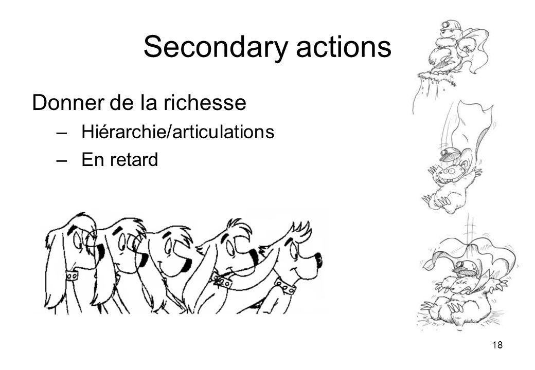 18 Secondary actions Donner de la richesse –Hiérarchie/articulations –En retard