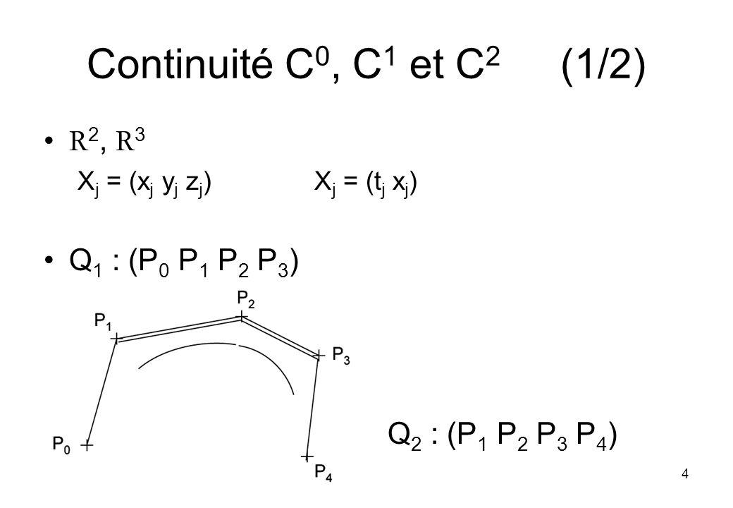 4 Continuité C 0, C 1 et C 2 (1/2) R 2, R 3 X j = (x j y j z j )X j = (t j x j ) Q 1 : (P 0 P 1 P 2 P 3 ) Q 2 : (P 1 P 2 P 3 P 4 )