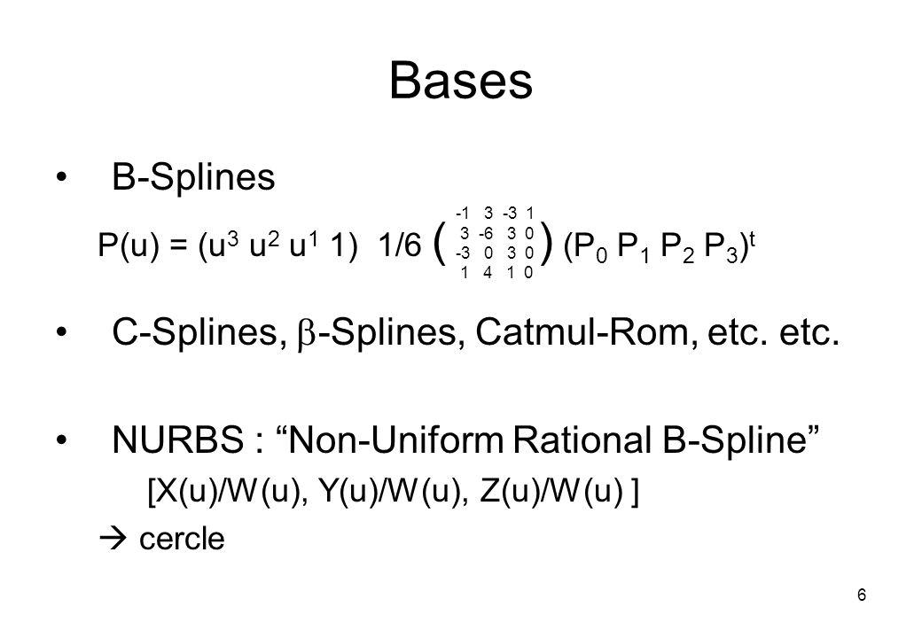 6 Bases B-Splines P(u) = (u 3 u 2 u 1 1) 1/6 ( ) (P 0 P 1 P 2 P 3 ) t C-Splines, -Splines, Catmul-Rom, etc.