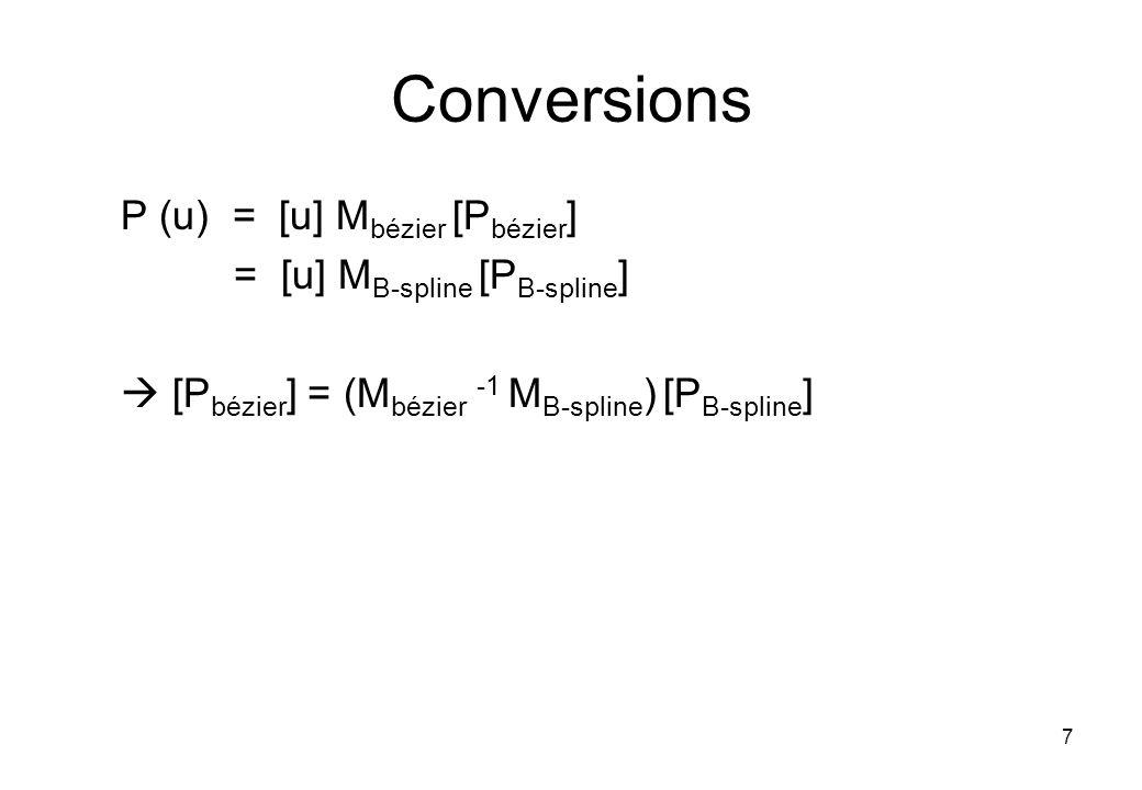 7 Conversions P (u) = [u] M bézier [P bézier ] = [u] M B-spline [P B-spline ] [P bézier ] = (M bézier -1 M B-spline ) [P B-spline ]