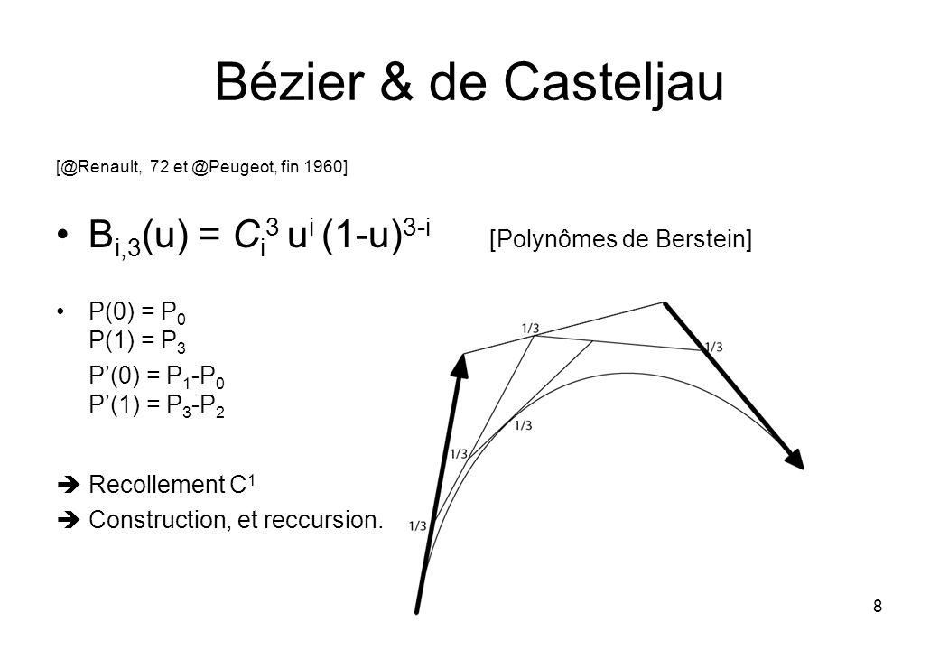 8 Bézier & de Casteljau [@Renault, 72 et @Peugeot, fin 1960] B i,3 (u) = C i 3 u i (1-u) 3-i [Polynômes de Berstein] P(0) = P 0 P(1) = P 3 P(0) = P 1 -P 0 P(1) = P 3 -P 2 Recollement C 1 Construction, et reccursion.