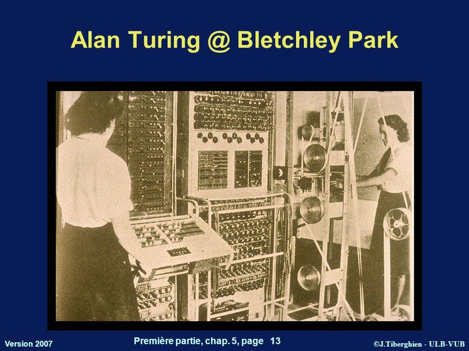 ©J.Tiberghien - ULB-VUB Version 2007 Première partie, chap. 5, page 13 Alan Turing @ Bletchley Park