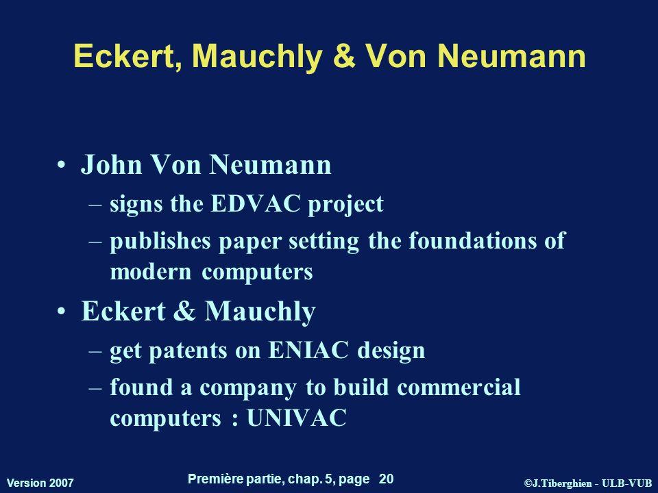 ©J.Tiberghien - ULB-VUB Version 2007 Première partie, chap. 5, page 20 Eckert, Mauchly & Von Neumann John Von Neumann –signs the EDVAC project –publis