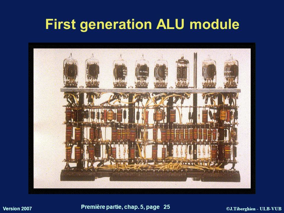 ©J.Tiberghien - ULB-VUB Version 2007 Première partie, chap. 5, page 25 First generation ALU module