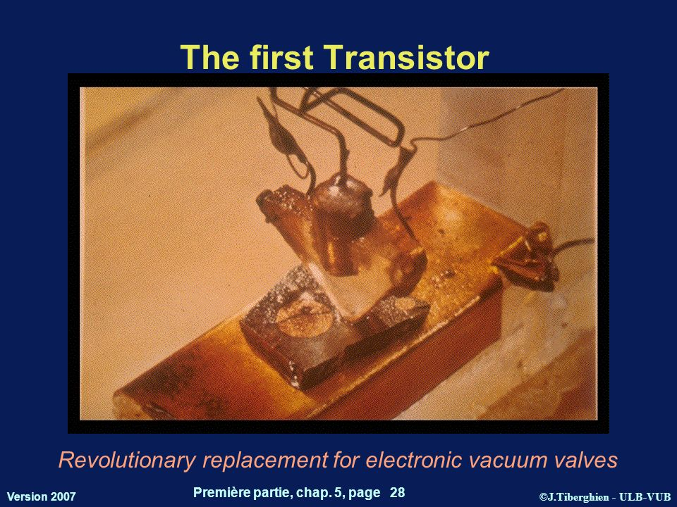 ©J.Tiberghien - ULB-VUB Version 2007 Première partie, chap. 5, page 28 The first Transistor Revolutionary replacement for electronic vacuum valves
