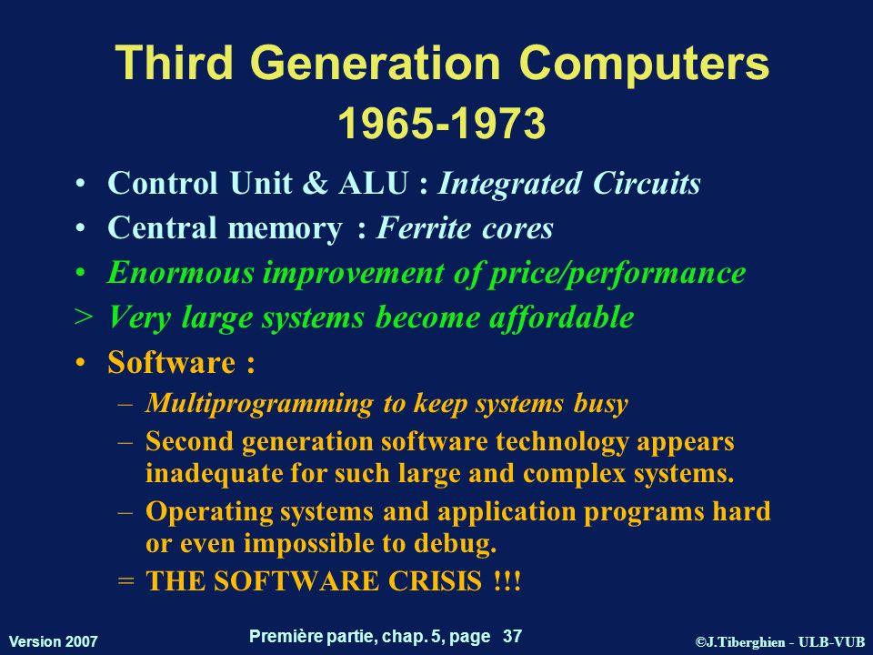 ©J.Tiberghien - ULB-VUB Version 2007 Première partie, chap. 5, page 37 Third Generation Computers 1965-1973 Control Unit & ALU : Integrated Circuits C