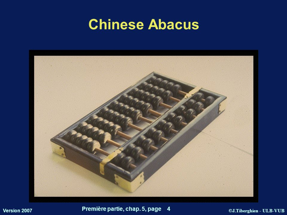 ©J.Tiberghien - ULB-VUB Version 2007 Première partie, chap. 5, page 4 Chinese Abacus