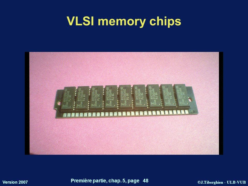 ©J.Tiberghien - ULB-VUB Version 2007 Première partie, chap. 5, page 48 VLSI memory chips