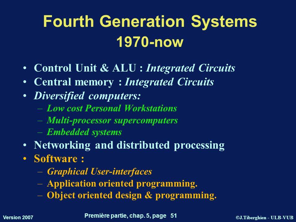 ©J.Tiberghien - ULB-VUB Version 2007 Première partie, chap. 5, page 51 Fourth Generation Systems 1970-now Control Unit & ALU : Integrated Circuits Cen