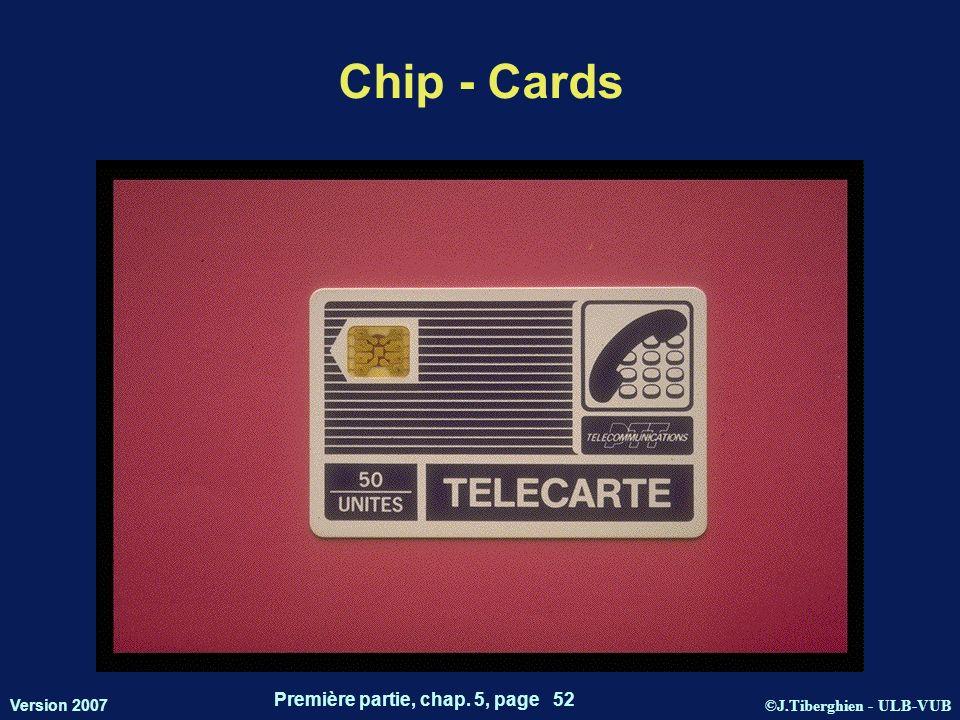 ©J.Tiberghien - ULB-VUB Version 2007 Première partie, chap. 5, page 52 Chip - Cards