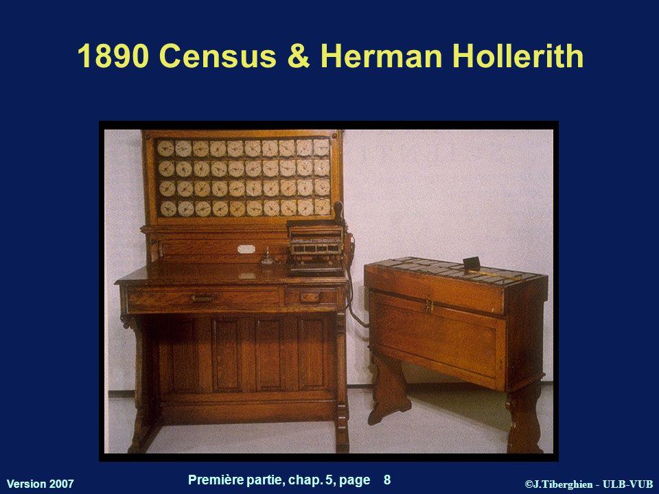 ©J.Tiberghien - ULB-VUB Version 2007 Première partie, chap. 5, page 8 1890 Census & Herman Hollerith