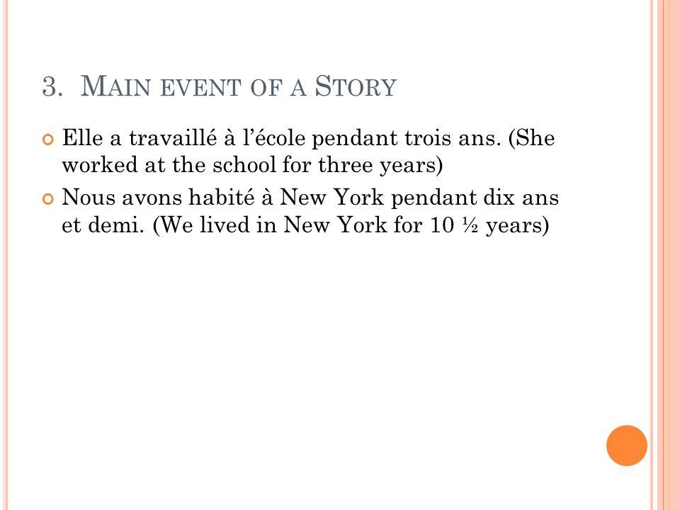 3. M AIN EVENT OF A S TORY Elle a travaillé à lécole pendant trois ans. (She worked at the school for three years) Nous avons habité à New York pendan